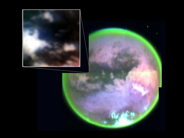Titan in different false color, with detail inset